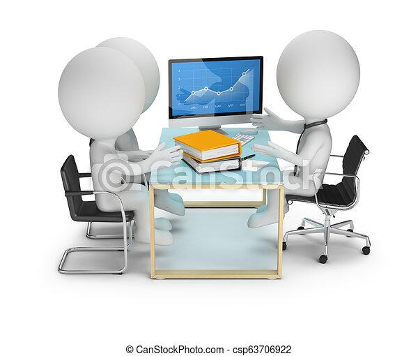 pessoas, discussão, clientes, -, pequeno, 3d - csp63706922