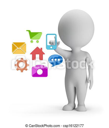 pessoas, -, escolha, aplicações, pequeno, 3d - csp16122177