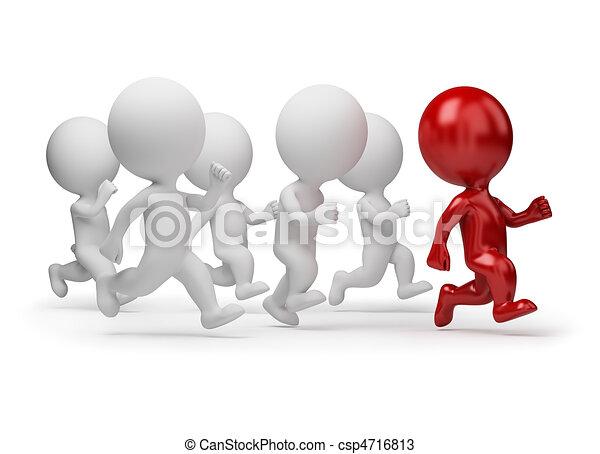 pessoas, -, executando, pequeno, líder, 3d - csp4716813