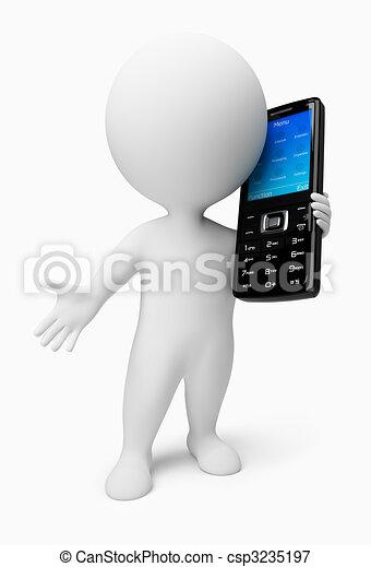 pessoas, móvel, -, telefone, pequeno, 3d - csp3235197