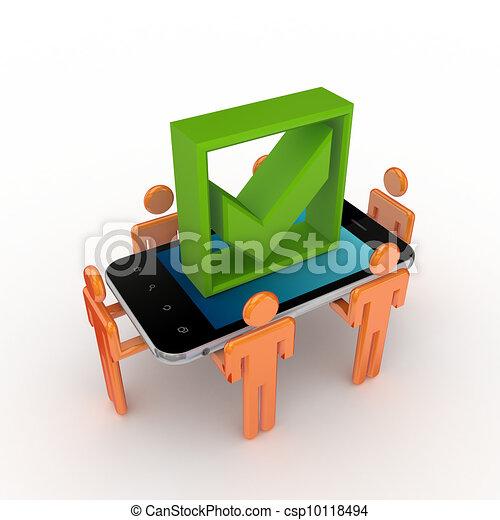 pessoas, mark., telefone, verde, móvel, pequeno, carrapato, 3d - csp10118494
