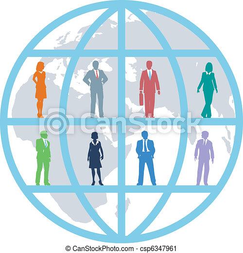 pessoas negócio, global, equipe, mundo, recursos - csp6347961