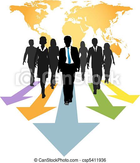 pessoas negócio, global, setas, expedir, progresso - csp5411936