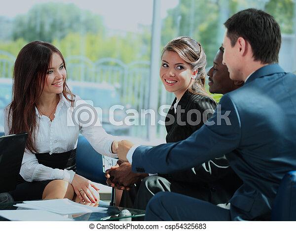 pessoas negócio, mãos, cima, meeting., acabamento, agitação - csp54325683