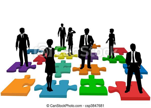 pessoas negócio, quebra-cabeça, human, equipe, recursos - csp3847681