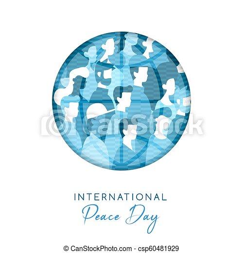 pessoas, paz, unidade, diverso, mundo, dia, cartão - csp60481929