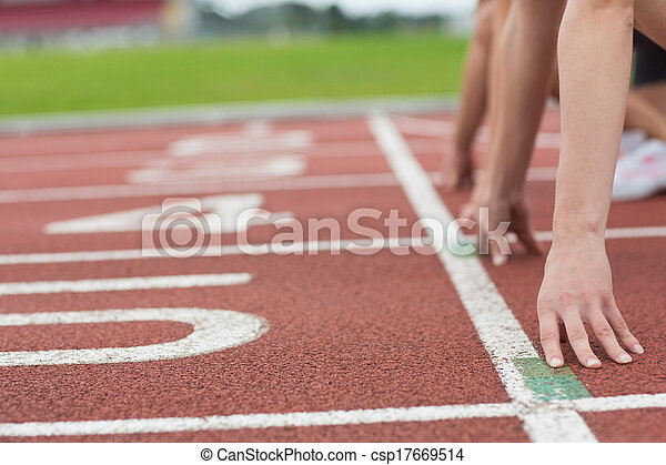 pessoas, pista, recortado, campo, raça, pronto - csp17669514
