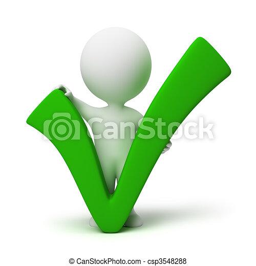 pessoas, positivo, símbolo, -, pequeno, 3d - csp3548288