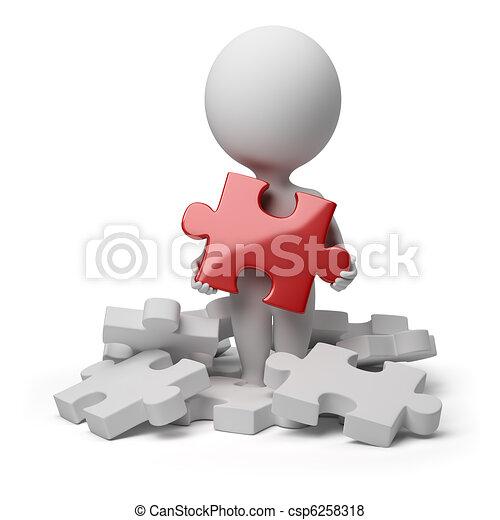 pessoas, quebra-cabeça, -, pequeno, encontrado, 3d - csp6258318
