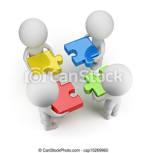 pessoas, -, quebra-cabeças, equipe, pequeno, 3d - csp10269960