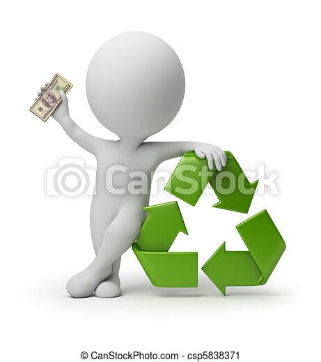 pessoas, reciclagem, -, pequeno, pagamento, 3d - csp5838371