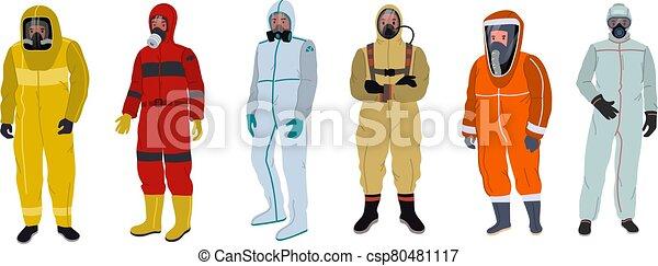 pessoas, roupa protetora - csp80481117
