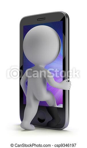 pessoas, -, telefone, pequeno, login, seu, 3d - csp9346197