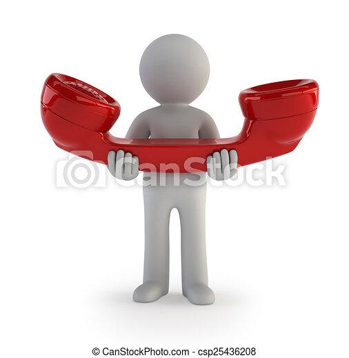 pessoas, -, telefonema, pequeno, 3d - csp25436208
