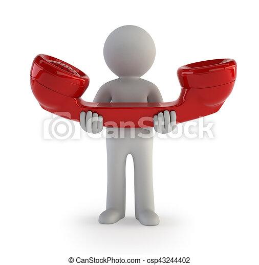 pessoas, -, telefonema, pequeno, 3d - csp43244402