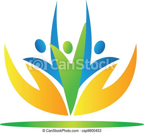pessoas, vecto, levando, mãos, logotipo, cuidado - csp9800453