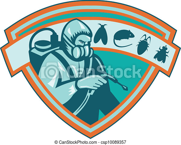 Pest Control Exterminator Worker Shield - csp10089357