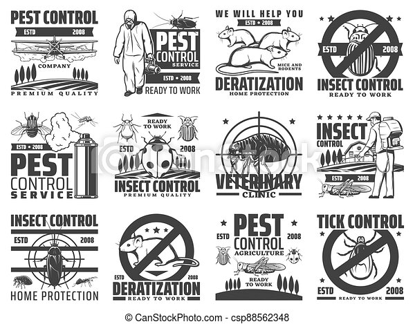 Pest control, rodent and insect extermination icon - csp88562348