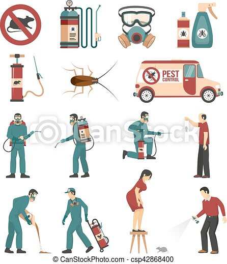 Pest Control Service Flat Icons Collection - csp42868400