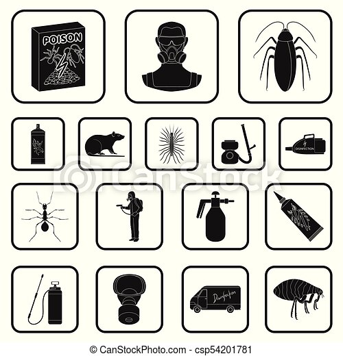 Pest Poison Personnel And Equipment Black Icons In Set Vector
