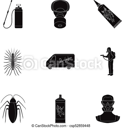 Pest Poison Personnel And Various Equipment Black Icons In Eps