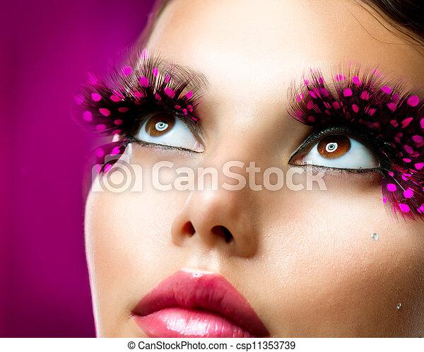 pestañas, falso, makeup., creativo - csp11353739