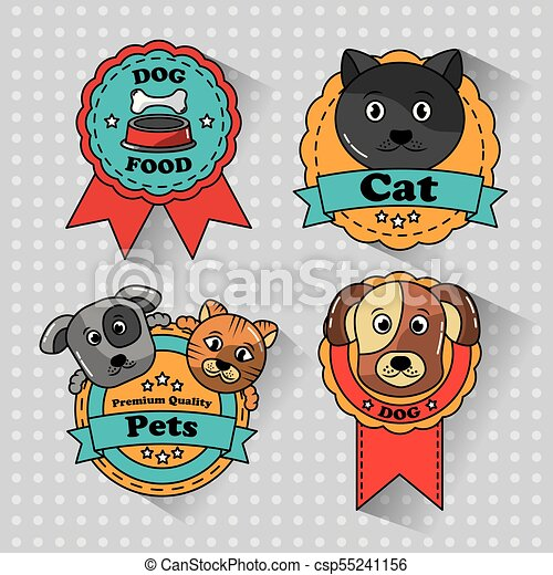 pet cat and dog medal badges icons - csp55241156