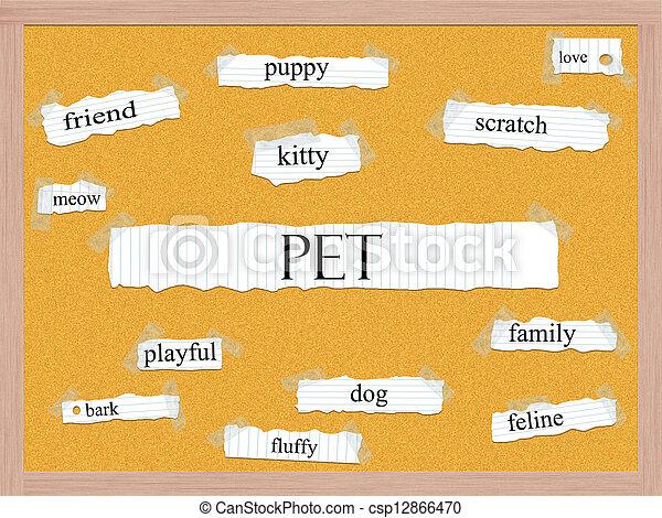 Pet Corkboard Word Concept - csp12866470