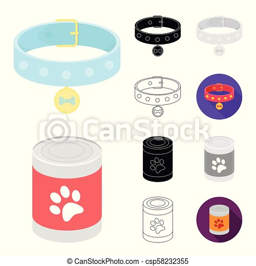 Pet dog cartoon, black, flat, monochrome, outline icons in set collection for design. Caring for the puppy vector symbol stock web illustration. - csp58232355