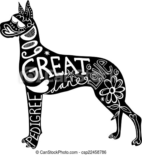pet great dane dog hand drawn illustration of a great dane dog rh canstockphoto com great dane clipart black and white