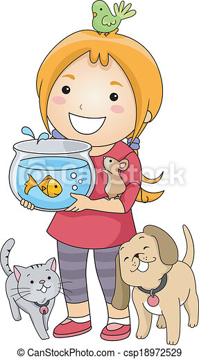 pet lover girl illustration of a little girl surrounded by rh canstockphoto com free clipart pet store free clipart pet sitting