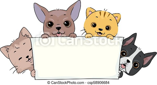 Pet Parade Banner Cat Dog Illustration Illustration Of Dogs And Cats Holding A Blank Banner For A Pet Parade
