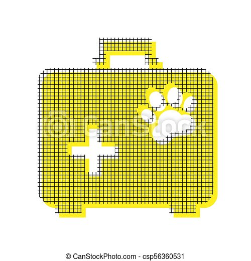 Pet shop sign illustration. Vector. Yellow icon with square patt - csp56360531