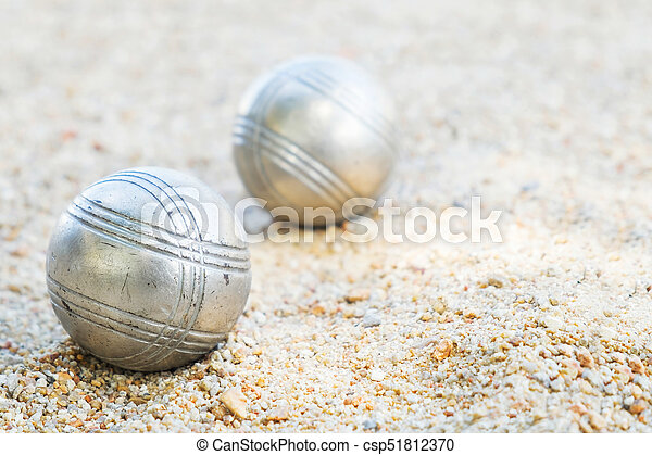 petanque  balls on the field with nobody. - csp51812370