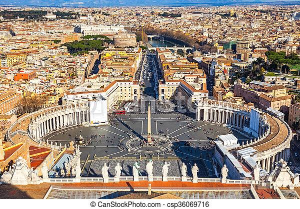 peter's, luchtopnames, rome, heilige, kathedraal, aanzicht - csp36069716