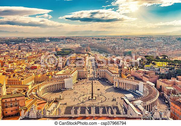 peter's, luchtopnames, rome, heilige, kathedraal, aanzicht - csp37966794