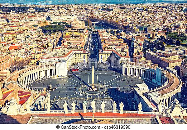 peter's, luchtopnames, rome, heilige, kathedraal, aanzicht - csp46319390