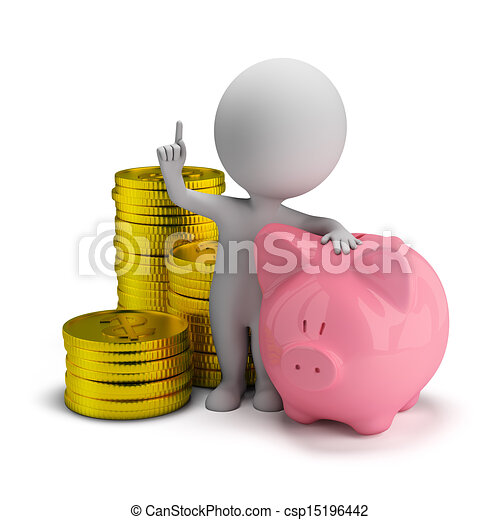 petit, économies, 3d, -, gens - csp15196442