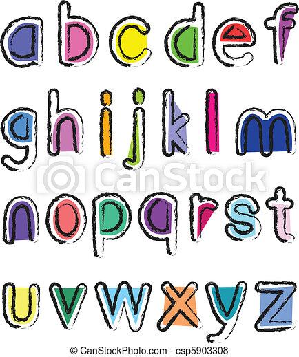Alphabet Artistique petit, alphabet, artistique.