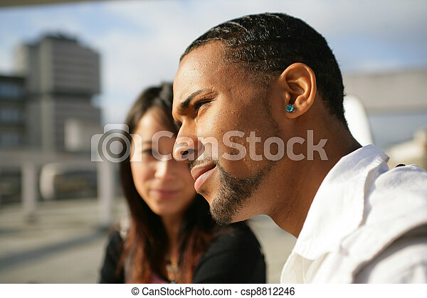 petit ami, femme, elle, essayer, parler, insensible - csp8812246