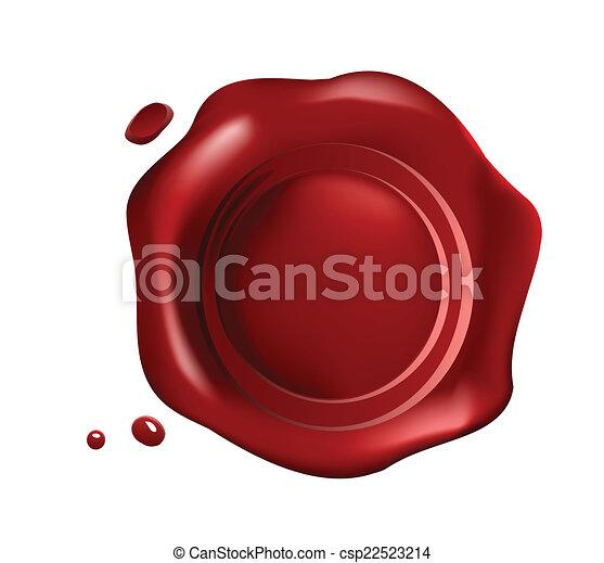 petit, cachet, rouges, gouttes, cire - csp22523214