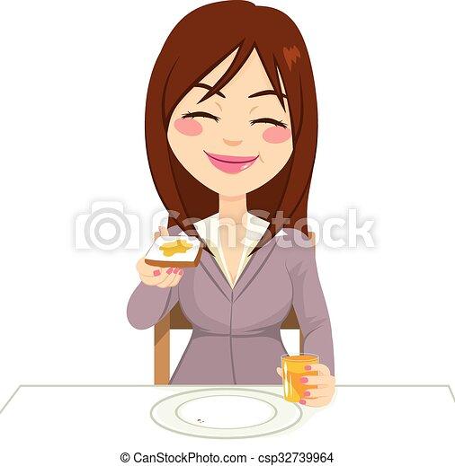 petit déjeuner, femme, avoir, heureux - csp32739964