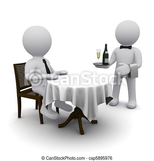 petit, dîne, tridimensionnel, homme - csp5895976