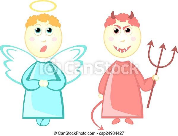 Petit diable dessin anim ange illustration vectorielle - Coloriage petit diable ...