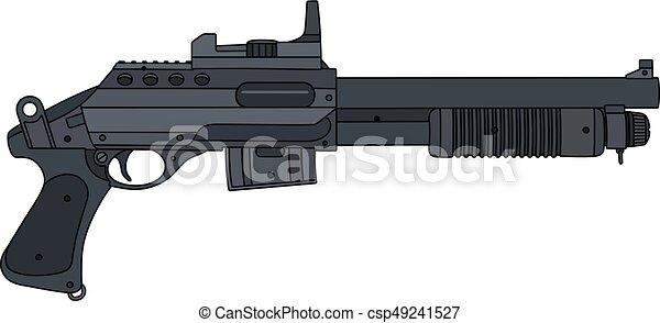 Dessin Fusil De Chasse petit, fusil chasse, pompe. court, fusil chasse, main, petit