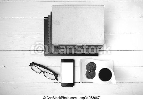 Petit Gateau Cafe Lunettes Tasse Couleur Livre Noir Blanc