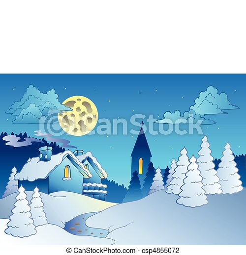petit, hiver, village - csp4855072