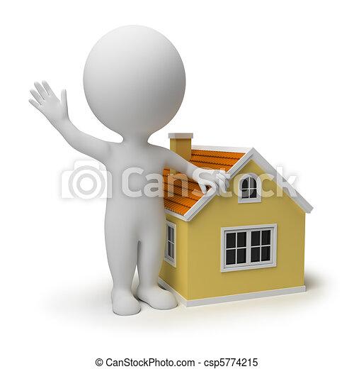 petit, maison, 3d, -, gens - csp5774215