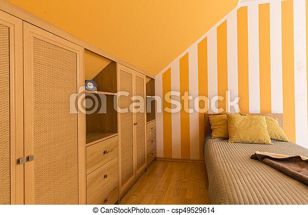 petit, orange, blanc, lit, chambre à coucher