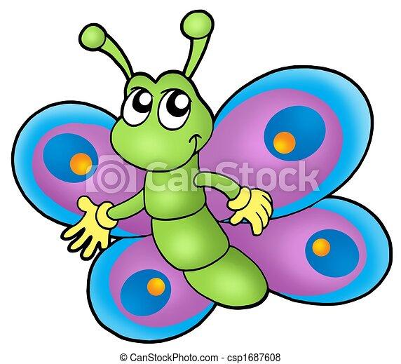 Petit papillon dessin anim papillon illustration - Dessin petit papillon ...